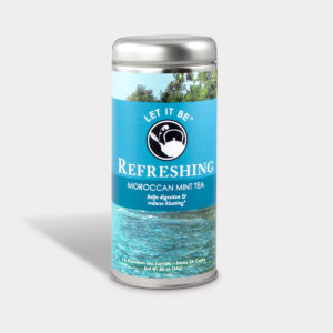Customizable Healthy Specialty Tea Blend Let It Be Refreshing Moroccan Mint Tea in an Easy-Open Silver Tall Tin with 12 Pyramid Tea Sachets