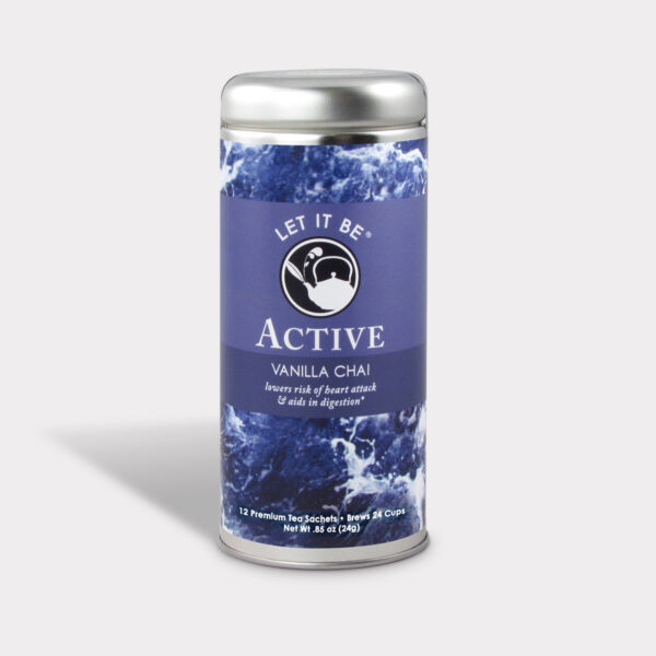 Customizable Healthy Specialty Tea Blend Let It Be Active Vanilla Chai Tea in an Easy-Open Silver Tall Tin with 12 Pyramid Tea Sachets