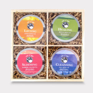 Slimming and Lifting Customizable Wooden Let it Be Tea Mini Tin Variety Box