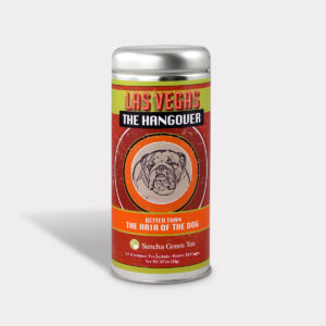 Customizable Private Label Healthy Las Vegas the Hangover Better Than the Hair of the Dog Travel Souvenir Tea in an Easy-Open Silver Tall Tin with 12 Pyramid Tea Sachets in a flavor of your choice