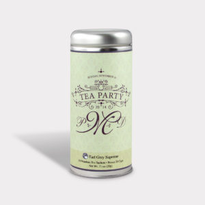 Customizable Private Label All-Natural Healthy Tea Party Monogram Tea in an Easy-Open Silver Tall Tin with 12 Pyramid Tea Sachets in a flavor of your choice