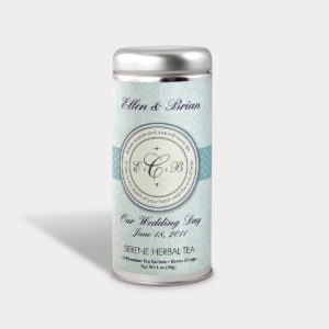 Customizable Private Label All-Natural Healthy Wedding Pure Monogram Tea in an Easy-Open Silver Tall Tin with 12 Pyramid Tea Sachets in a flavor of your choice