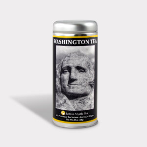Customizable Private Label Healthy George Washington Mt. Rushmore Historical Travel Souvenir Tea in an Easy-Open Silver Tall Tin with 12 Pyramid Tea Sachets in a flavor of your choice