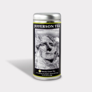 Customizable Private Label Healthy Jefferson Mt. Rushmore Historical Travel Souvenir Tea in an Easy-Open Silver Tall Tin with 12 Pyramid Tea Sachets in a flavor of your choice