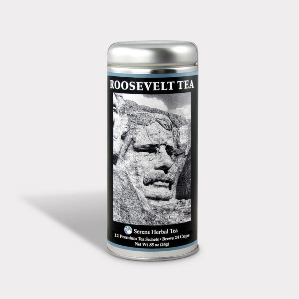 Customizable Private Label Healthy Roosevelt Mt. Rushmore Historical Travel Souvenir Tea in an Easy-Open Silver Tall Tin with 12 Pyramid Tea Sachets in a flavor of your choice