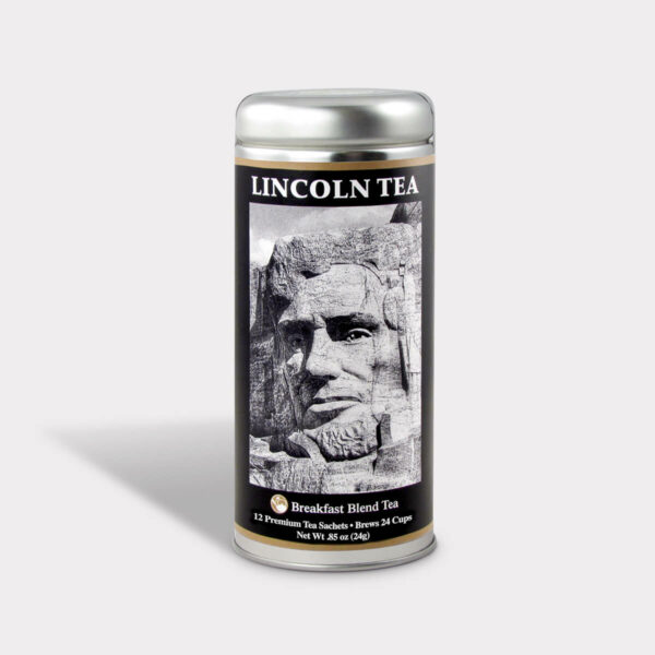 Customizable Private Label Healthy Lincoln Mt. Rushmore Historical Travel Souvenir Tea in an Easy-Open Silver Tall Tin with 12 Pyramid Tea Sachets in a flavor of your choice
