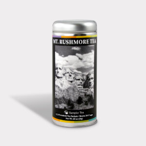 Customizable Private Label Healthy Mt. Rushmore Historical Sampler Tea Can Travel Souvenir Tea in an Easy-Open Silver Tall Tin with 12 Pyramid Tea Sachets in a flavor of your choice