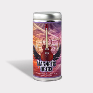 Customizable Private Label All-Natural Healthy Magnetic Detox Tea in an Easy-Open Silver Tall Tin with 12 Pyramid Tea Sachets in a flavor of your choice