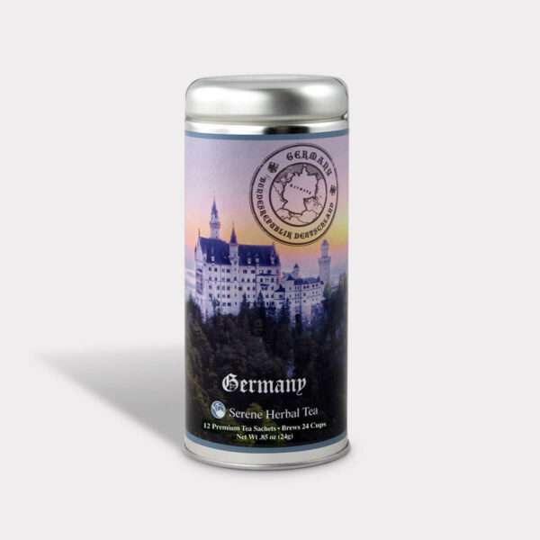 Customizable Private Label Healthy German Castle Travel Souvenir Tea in an Easy-Open Silver Tall Tin with 12 Pyramid Tea Sachets in a flavor of your choice