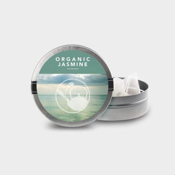 Customizable Healthy Specialty Tea Blend Organic Jasmine Tea in an Easy-Open Silver Mini Tin with Pyramid Tea Sachets