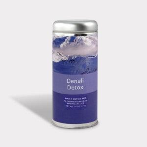 Customizable Private Label Healthy Denali Daily Detox Travel Souvenir Tea in an Easy-Open Silver Tall Tin with 12 Pyramid Tea Sachets
