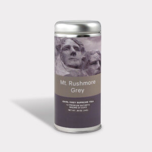 Customizable Private Label Healthy and Classic Mt. Rushmore Earl Grey Supreme Travel Souvenir Tea in an Easy-Open Silver Tall Tin with 12 Pyramid Tea Sachets