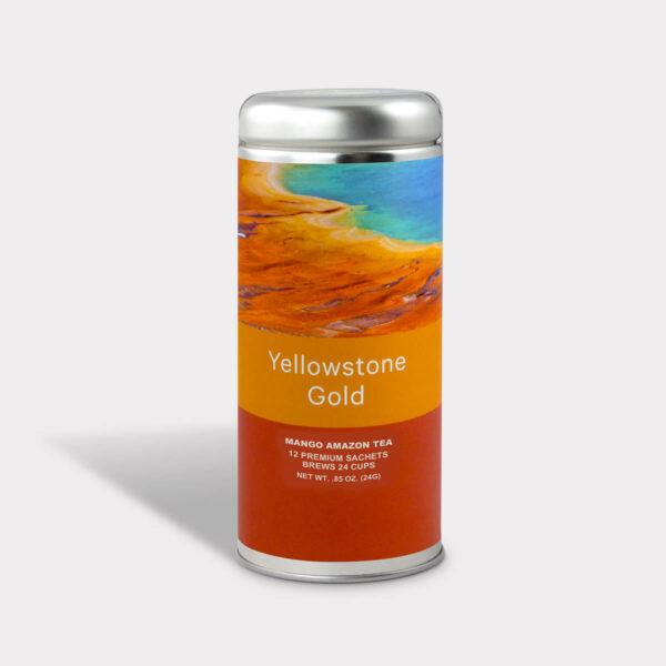 Customizable Private Label Healthy Yellowstone Gold Mango Amazon Tea Travel Souvenir Tea in an Easy-Open Silver Tall Tin with 12 Pyramid Tea Sachets