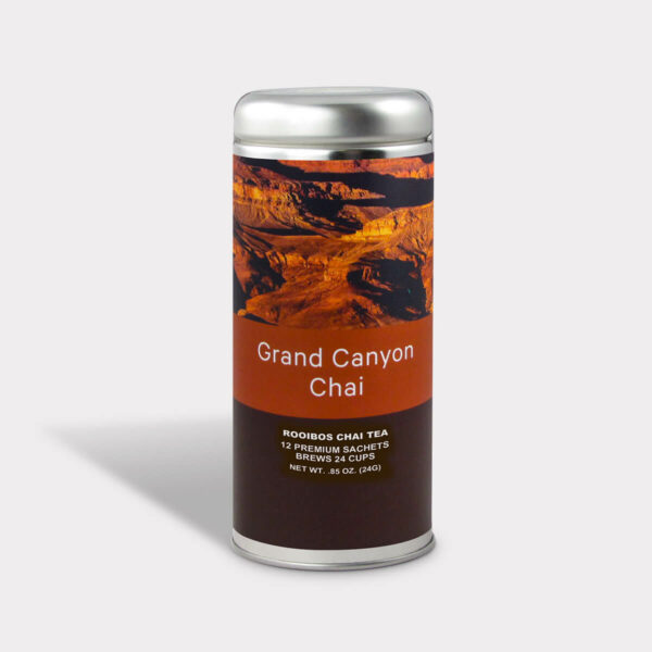 Customizable Private Label Healthy and Spicy Grand Canyon Rooibos Chai l Travel Souvenir Tea in an Easy-Open Silver Tall Tin with 12 Pyramid Tea Sachets