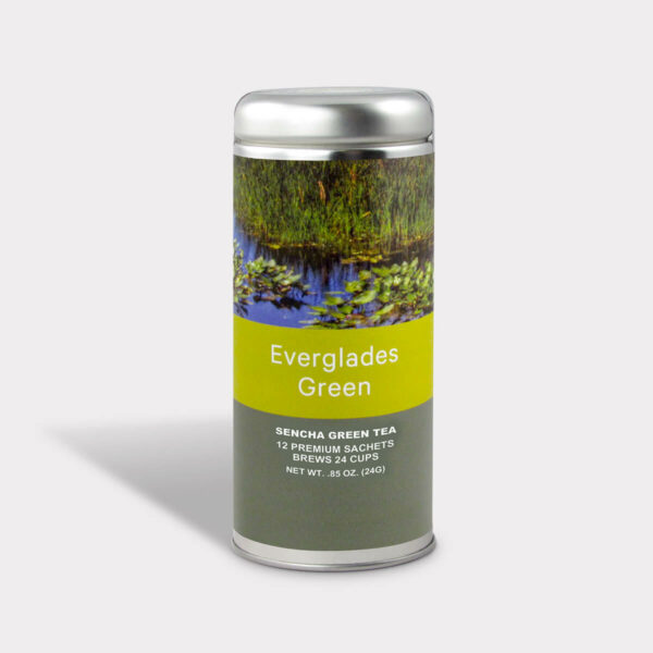 Customizable Private Label Healthy Everglades Sencha Green Travel Souvenir Tea in an Easy-Open Silver Tall Tin with 12 Pyramid Tea Sachets
