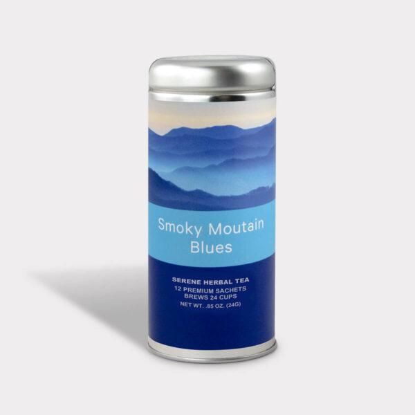 Customizable Private Label Healthy Smoky Mountain Blues Serene Herbal Travel Souvenir Tea in an Easy-Open Silver Tall Tin with 12 Pyramid Tea Sachets