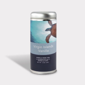 Customizable Private Label Healthy Virgin Islands Vanilla Rose Travel Souvenir Tea in an Easy-Open Silver Tall Tin with 12 Pyramid Tea Sachets