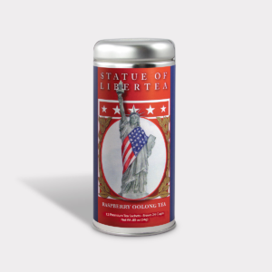 Customizable Healthy Specialty Tea Blend Statue of Libertea in an Easy-Open Silver Tall Tin with 12 Pyramid Tea Sachets in a flavor of your choice