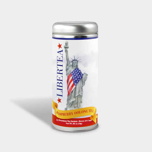 Customizable Healthy Specialty Tea Blend NYC in an Easy-Open Silver Tall Tin with 12 Pyramid Tea Sachets in a flavor of your choice