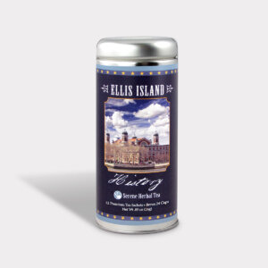 Customizable Private Label Healthy Ellis Island Historical Travel Souvenir Tea in an Easy-Open Silver Tall Tin with 12 Pyramid Tea Sachets in a flavor of your choice
