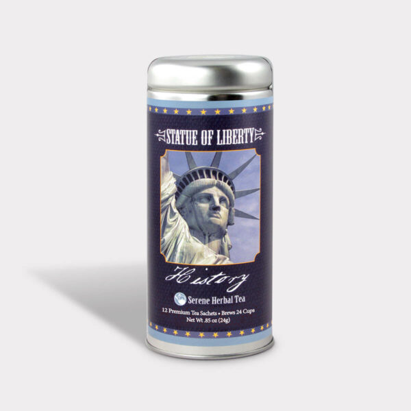 Customizable Private Label Healthy Statue of Liberty Historical Travel Souvenir Tea in an Easy-Open Silver Tall Tin with 12 Pyramid Tea Sachets in a flavor of your choice
