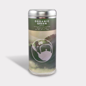 Customizable Healthy Specialty Tea Blend Organic Green Tea in an Easy-Open Silver Tall Tin with 12 Pyramid Tea Sachets