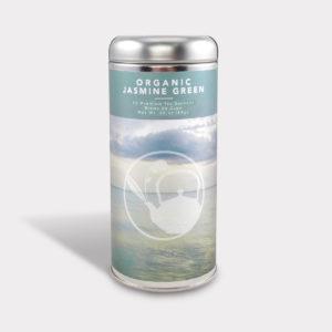 Customizable Healthy Specialty Tea Blend Organic Jasmine Green Tea in an Easy-Open Silver Tall Tin with 12 Pyramid Tea Sachets