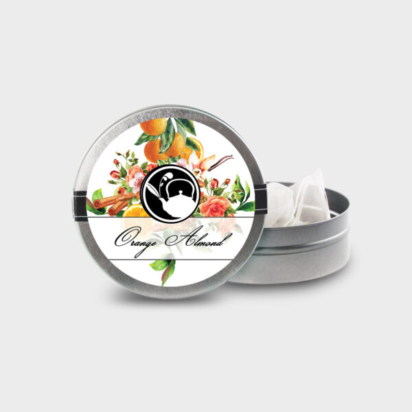 Customizable Healthy Specialty Tea Blend Floral Orange Almond Tea in an Easy-Open Silver Mini Tin with Pyramid Tea Sachets