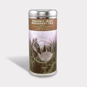 Customizable Healthy Specialty Tea Blend Organic Nilgiri Black Tea in an Easy-Open Silver Tall Tin with 12 Pyramid Tea Sachets