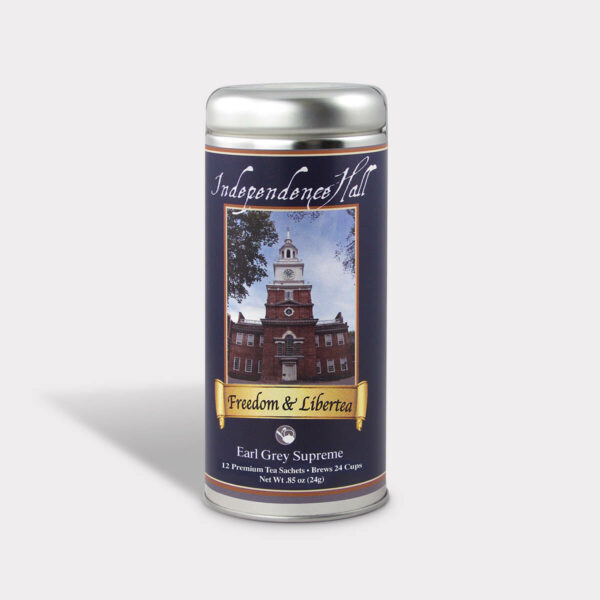 Customizable Private Label Healthy Philadelphia Pennsylvania Independence Hall Freedom and Liberty Historical Travel Souvenir Tea in an Easy-Open Silver Tall Tin with 12 Pyramid Tea Sachets in a flavor of your choice