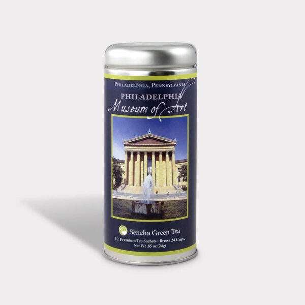 Customizable Private Label Healthy Philadelphia Pennsylvania Philadelphia Museum of Art Historical Travel Souvenir Tea in an Easy-Open Silver Tall Tin with 12 Pyramid Tea Sachets in a flavor of your choice