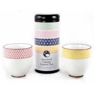 Sashiko Patterns Green Tea and Teacups Gift Set