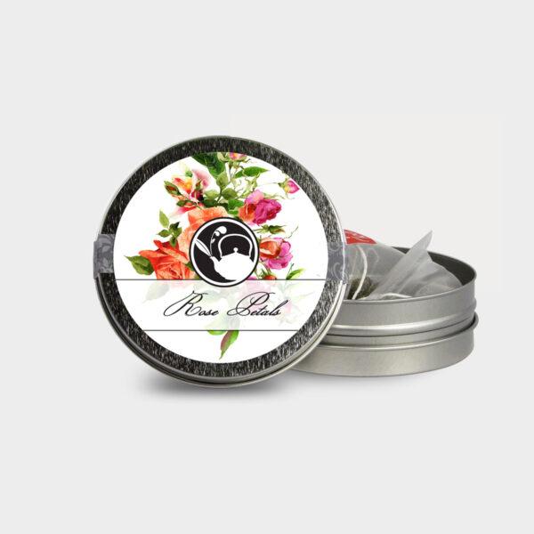 Customizable Healthy Specialty Tea Blend Floral Rose Petals Tea in an Easy-Open Silver Mini Tin with Pyramid Tea Sachets