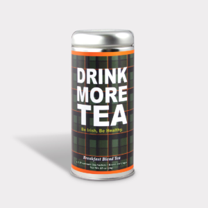 Customizable Private Label Healthy Be Irish Be Healthy Tea in an Easy-Open Silver Tall Tin with 12 Pyramid Tea Sachets in a flavor of your choice