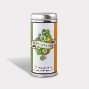 Customizable Healthy Specialty Tea Blend St Patrick's Day Golden Luck in an Easy-Open Silver Tall Tin with 12 Pyramid Tea Sachets in a flavor of your choice