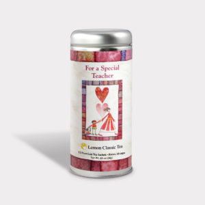 Customizable Private Label All-Natural Healthy Gratitude For a Special Teacher Tea in an Easy-Open Silver Tall Tin with 12 Pyramid Tea Sachets in a flavor of your choice
