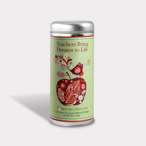 Customizable Private Label All-Natural Healthy Gratitude Teachers Bring Dreams to Life Tea in an Easy-Open Silver Tall Tin with 12 Pyramid Tea Sachets in a flavor of your choice