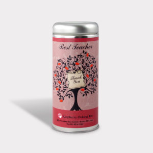 Customizable Private Label All-Natural Healthy Best Teacher Tea in an Easy-Open Silver Tall Tin with 12 Pyramid Tea Sachets in a flavor of your choice