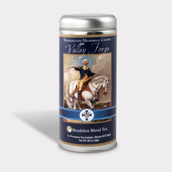 Customizable Private Label Healthy Washington Memorial Chapel Valley Forge Travel Souvenir Tea in an Easy-Open Silver Tall Tin with 12 Pyramid Tea Sachets in a flavor of your choice