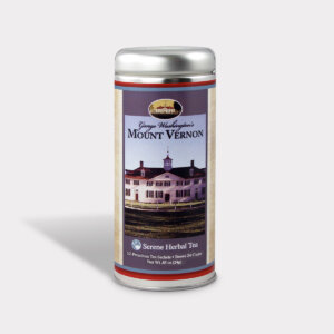 Customizable Private Label Healthy George Washington's Mount Vernon Travel Souvenir Tea in an Easy-Open Silver Tall Tin with 12 Pyramid Tea Sachets in a flavor of your choice
