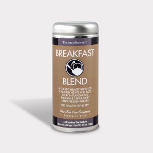 Customizable Healthy and Hearty Specialty Tea Blend Breakfast Blend in an Easy-Open Silver Tall Tin with 12 Pyramid Tea Sachets