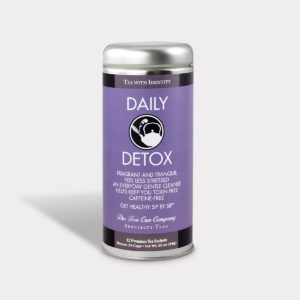 Customizable Healthy and Refreshing Specialty Tea Blend Daily Detox Herbal Tea in an Easy-Open Silver Tall Tin with 12 Pyramid Tea Sachets