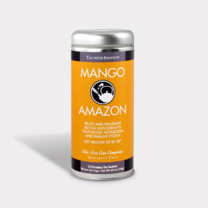 Customizable Healthy and Fruity Specialty Tea Blend Mango Amazon Black Tea in an Easy-Open Silver Tall Tin with 12 Pyramid Tea Sachets