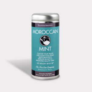 Customizable Healthy and Refreshing Specialty Tea Blend Moroccan Mint Green Tea in an Easy-Open Silver Tall Tin with 12 Pyramid Tea Sachets