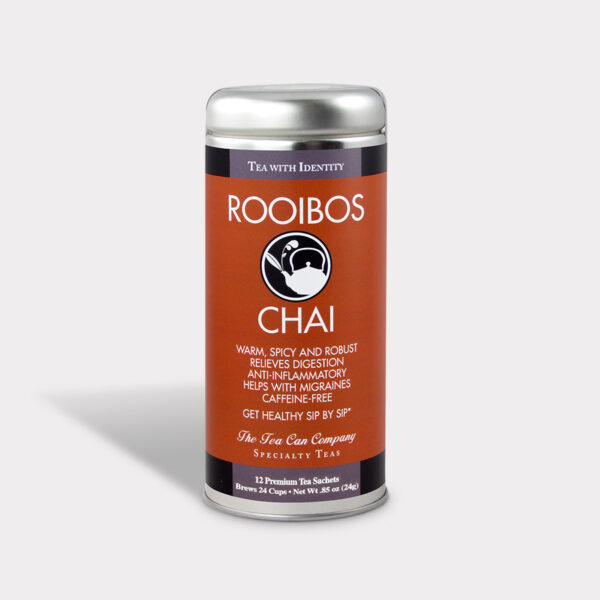 Customizable Healthy and Warming Specialty Tea Blend Rooibos Chai Tea in an Easy-Open Silver Tall Tin with 12 Pyramid Tea Sachets