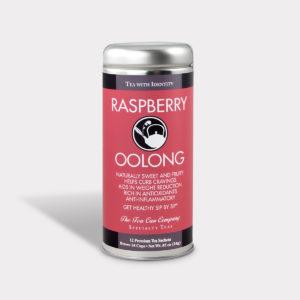 Customizable Healthy and Fruity Specialty Tea Blend Raspberry Oolong Tea in an Easy-Open Silver Tall Tin with 12 Pyramid Tea Sachets