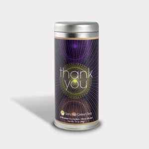 Customizable Private Label All-Natural Healthy Gratitude Thank You Spiral Tea in an Easy-Open Silver Tall Tin with 12 Pyramid Tea Sachets in a flavor of your choice