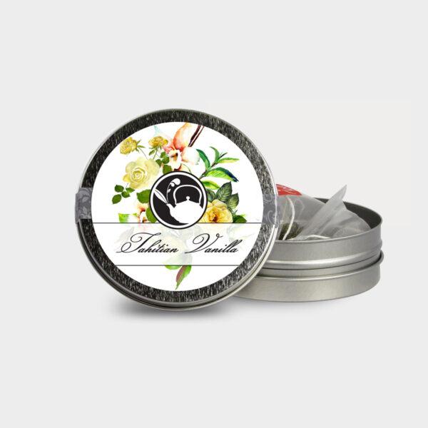 Customizable Healthy Specialty Tea Blend Floral Tahitian Vanilla Tea in an Easy-Open Silver Mini Tin with Pyramid Tea Sachets