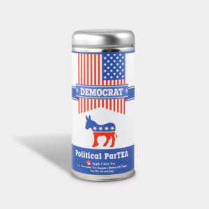 Customizable Private Label All-Natural Healthy Political Party Democrat Tea in an Easy-Open Silver Tall Tin with 12 Pyramid Tea Sachets in a flavor of your choice