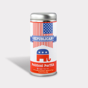Customizable Private Label All-Natural Healthy Political Party Republican Tea in an Easy-Open Silver Tall Tin with 12 Pyramid Tea Sachets in a flavor of your choice